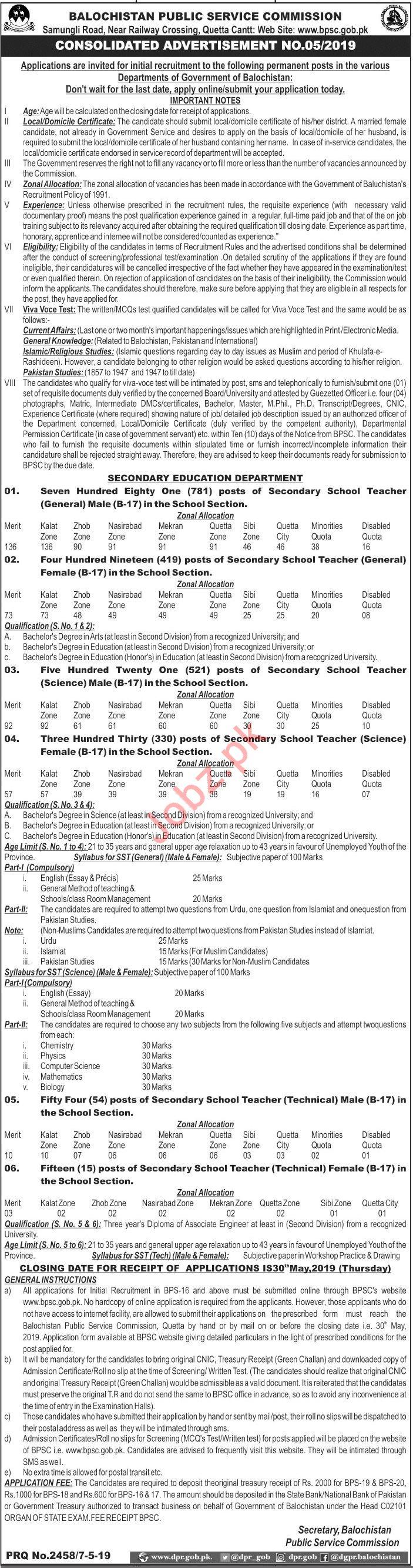 BPSC Jobs 2019 For Secondary School Teachers
