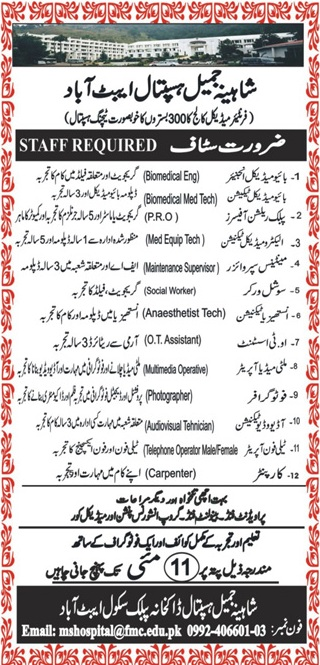 Shahina Jamil Teaching Hospital Abbottabad Job 2019