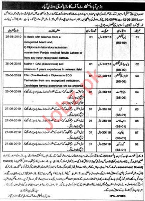 Wazirabad Institute of Cardiology WIC Jobs 2019