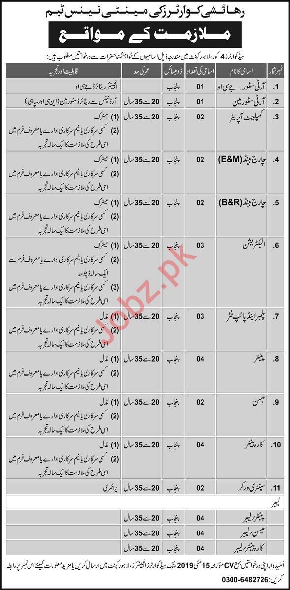 Pak Army Headquarters 4 Core Lahore Cantt Jobs 2019
