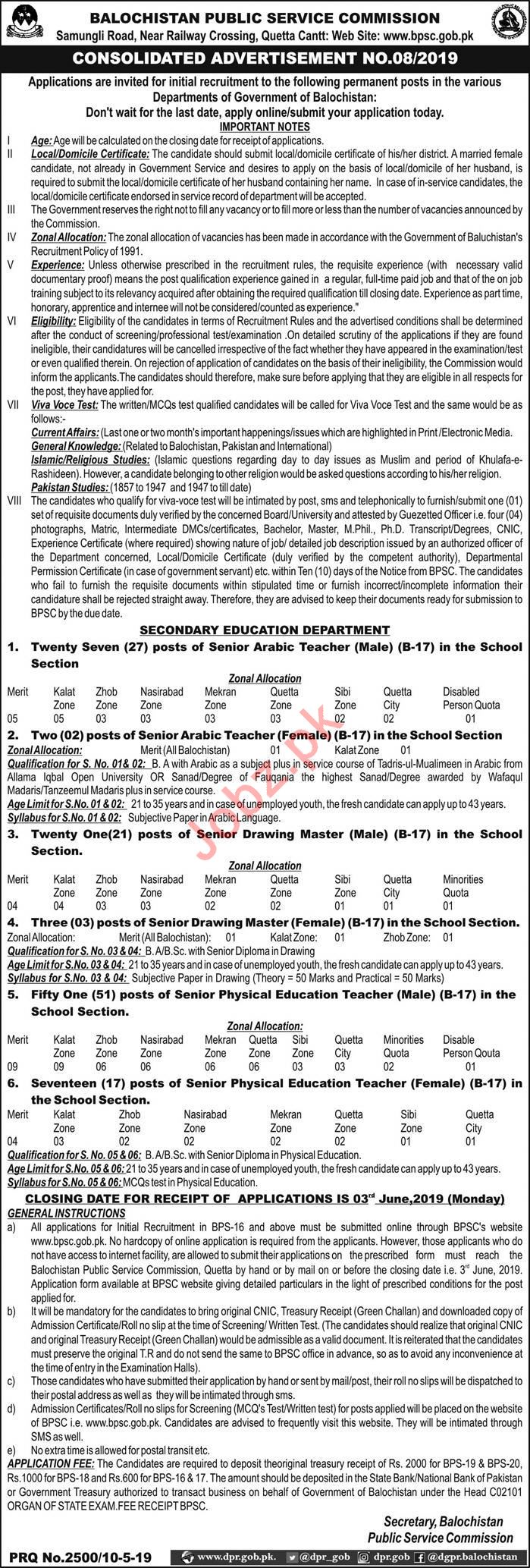 Secondary Education Department Jobs 2019 via BPSC