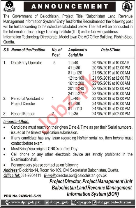 Balochistan Land Revenue Management Information System Jobs