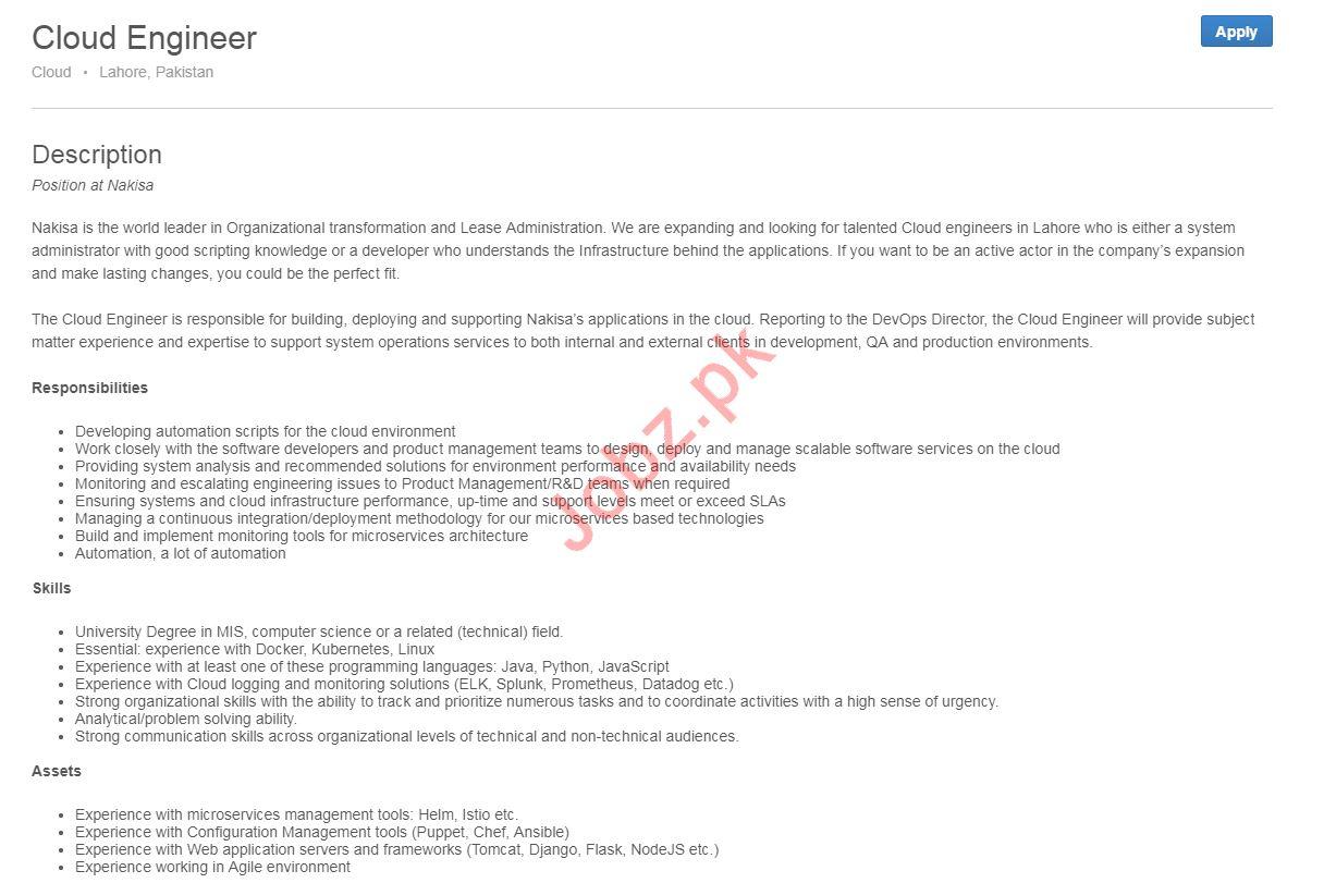 Cloud Engineer Job 2019 in Lahore 2019 Job Advertisement