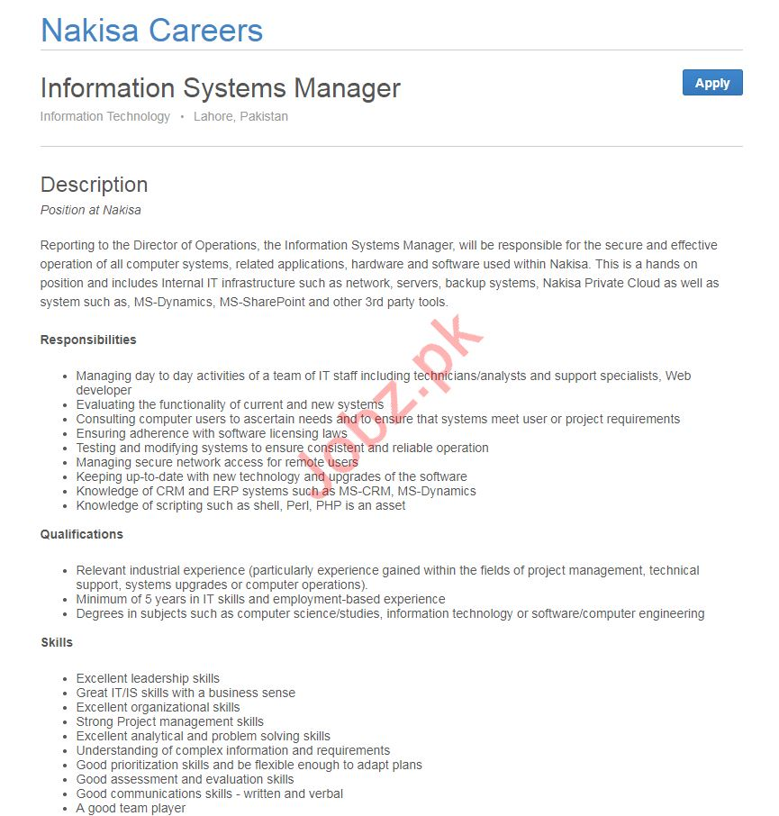 Information Technology Systems Manager Job Description
