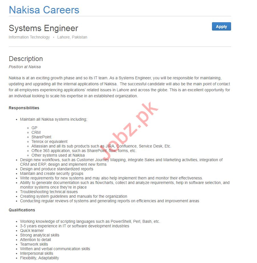 Systems Engineer Job 2019 in Lahore