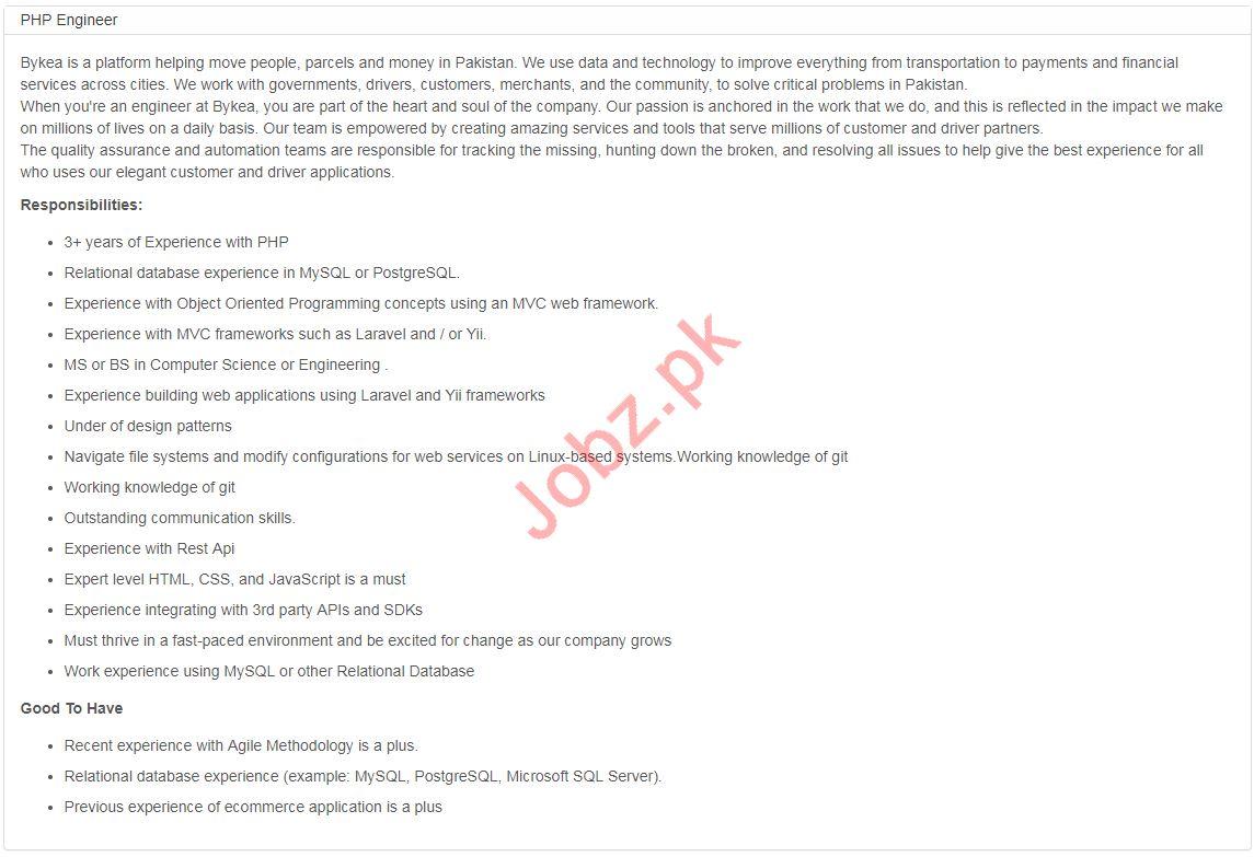 PHP Engineer Jobs in Bykea