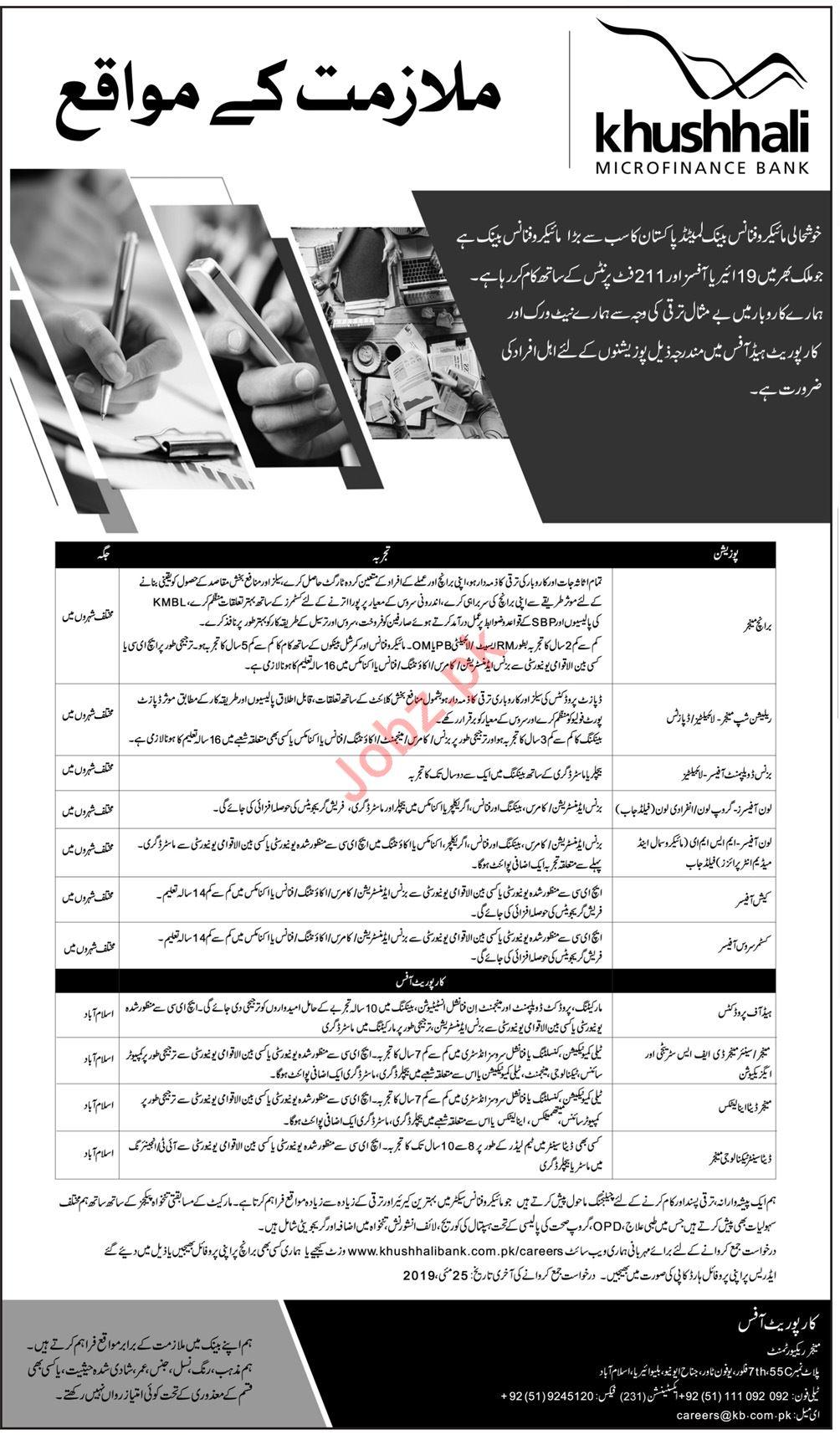 Khushhali MicroFinance Bank Limited Jobs 2019