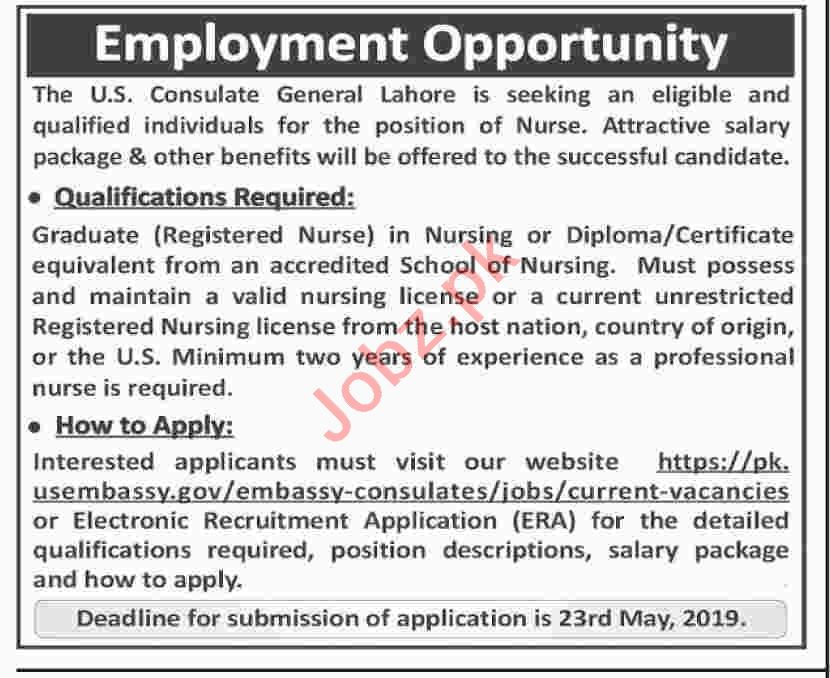 US Embassy Nurse Job in Lahore