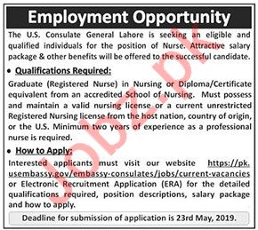 Nurse Job 2019 For US Embassy in Lahore