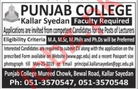 Punjab College Kallar Syedan Faculty Job 2019