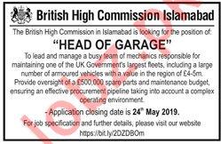 British High Commission Islamabad Job For Head of Garage