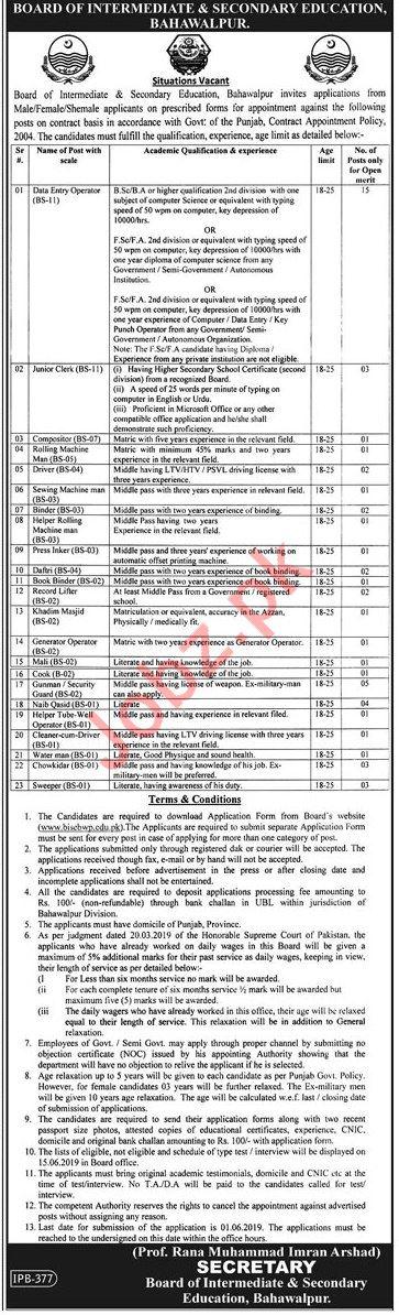 BISE Bahawalpur Data Entry Operator Jobs 2019