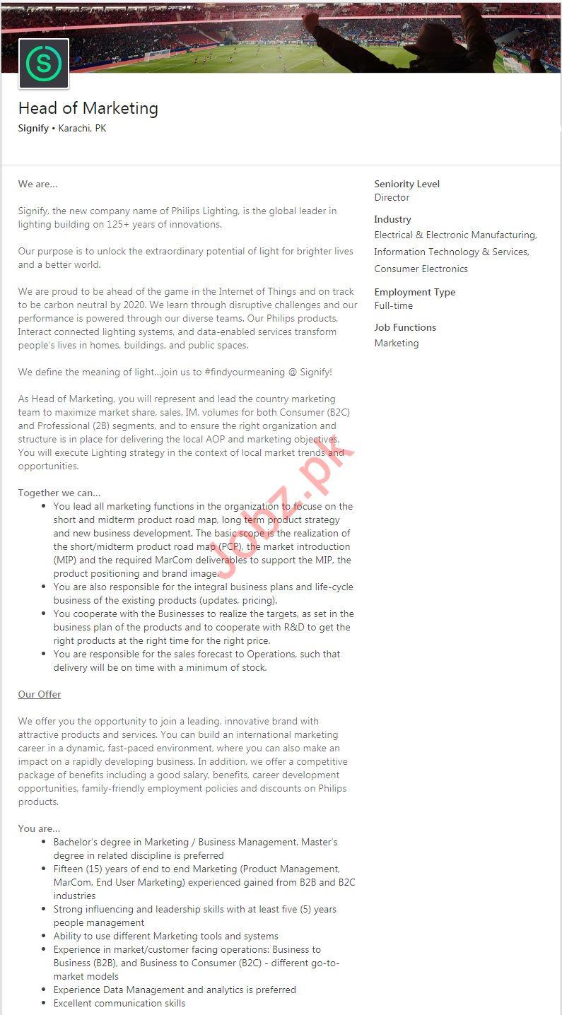 Signify Company Job 2019 For Head of Marketing