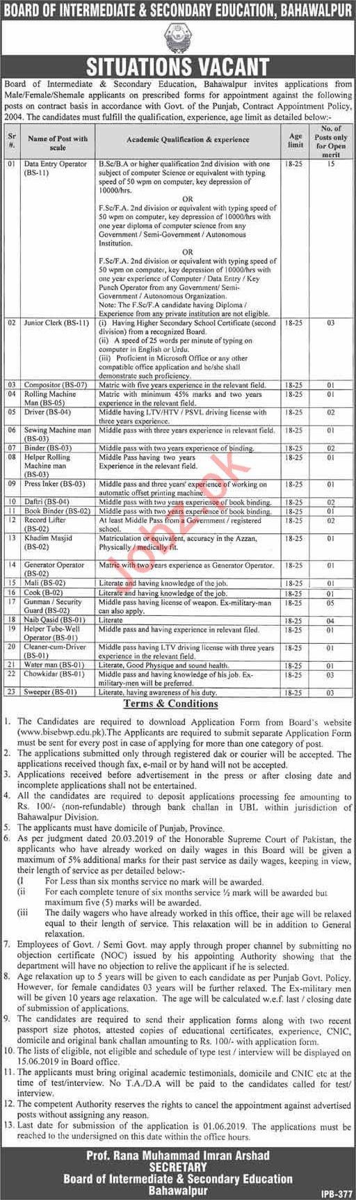 BISE Bahawalpur Jobs 2019