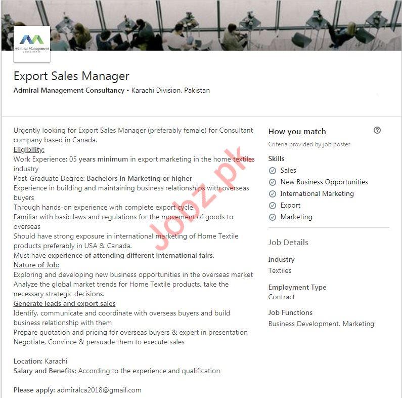 Export Sales Manager Job 2019 in Karachi Division