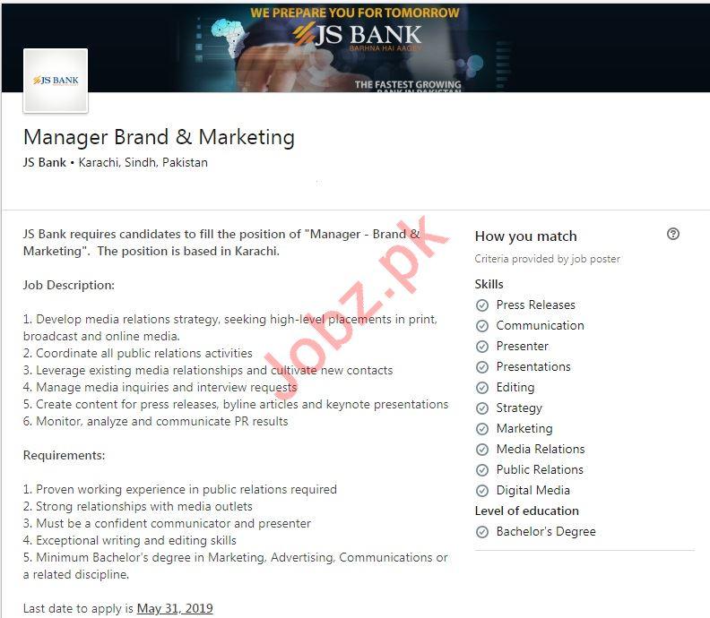 JS Bank Limited JSBL Jobs 2019 For Manager Brand & Marketing