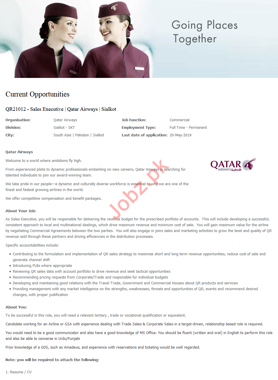 Qatar Airways Job For Sales Executive in Sialkot