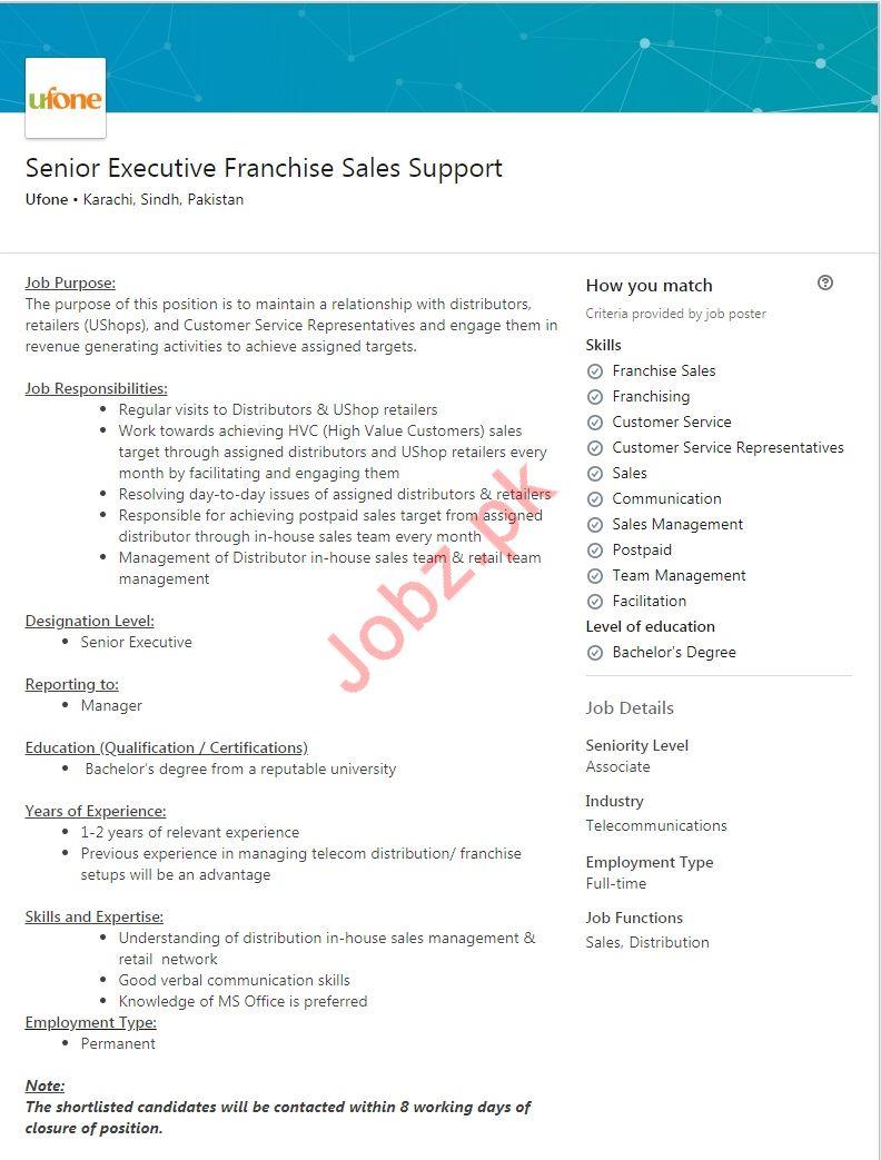 Senior Executive Franchise Sales Support Job 2019
