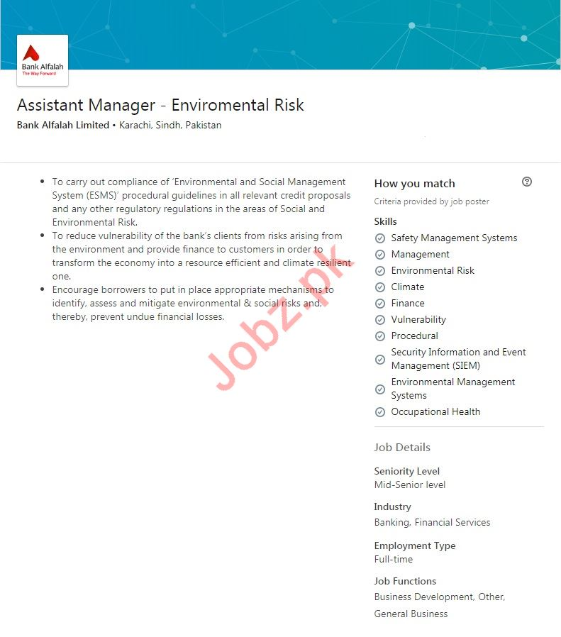 Assistant Manager Environmental Risk Job 2019 in Karachi