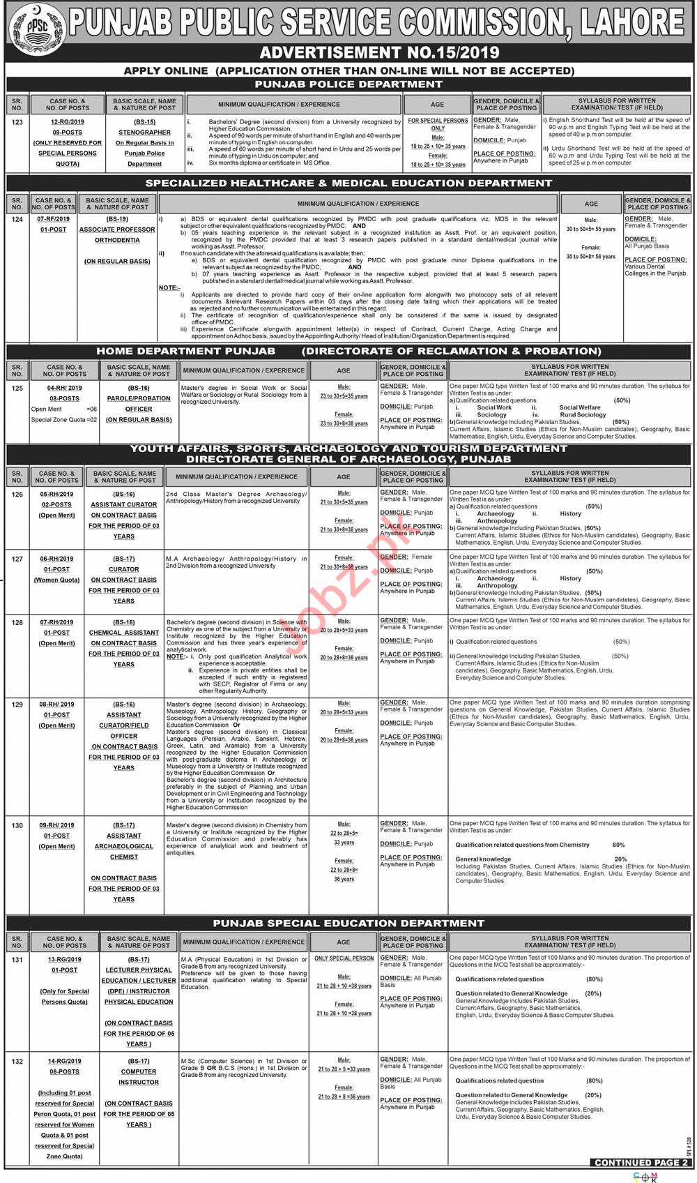 PPSC Punjab Public Service Commission Jobs 2019 in Lahore