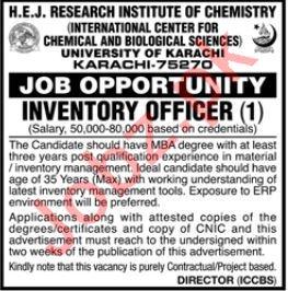 HEJ Research Institute of Chemistry Job 2019 in Karachi