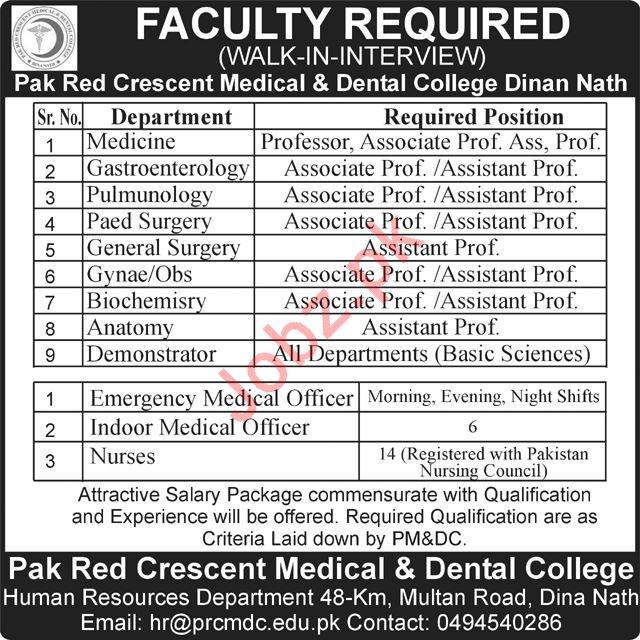 Pak Red Cresent Medical & Dental College Medical Staff Jobs