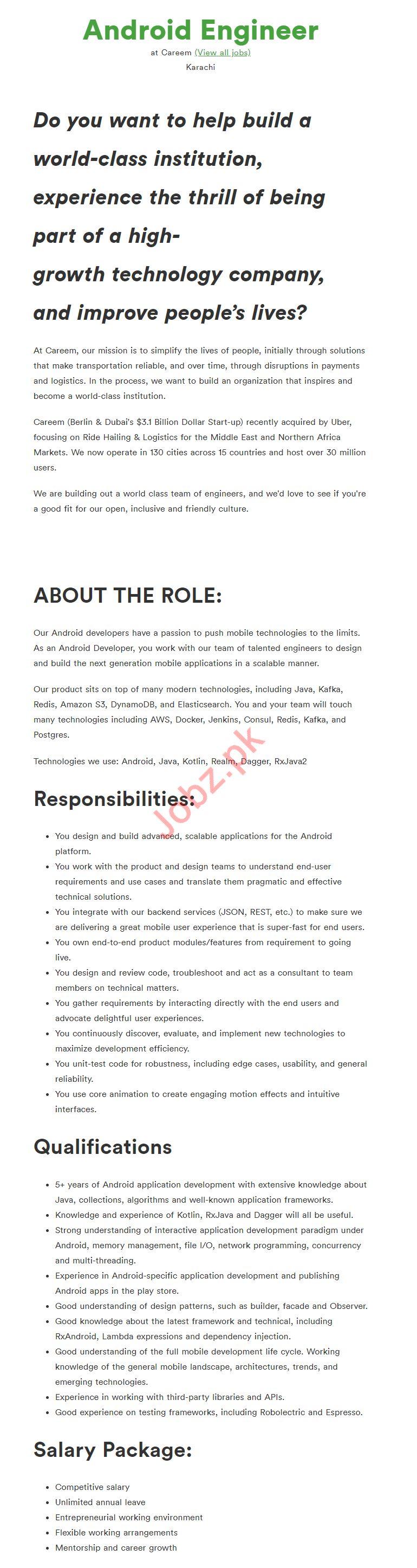 Android Engineer Job 2019 in Karachi