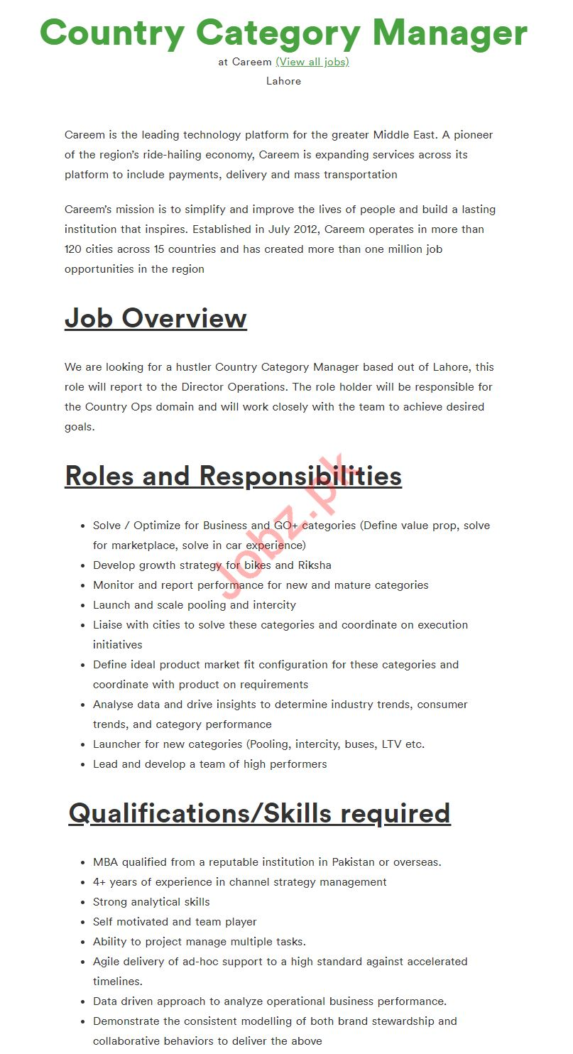 Country Category Manager Job 2019 in Lahore
