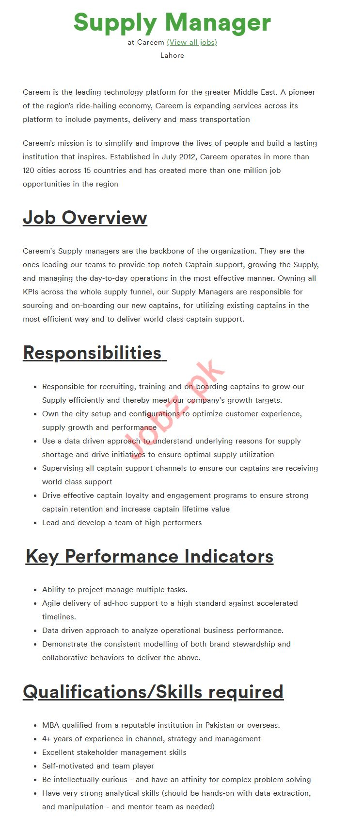 Supply Manager Job For Careem Company in Lahore