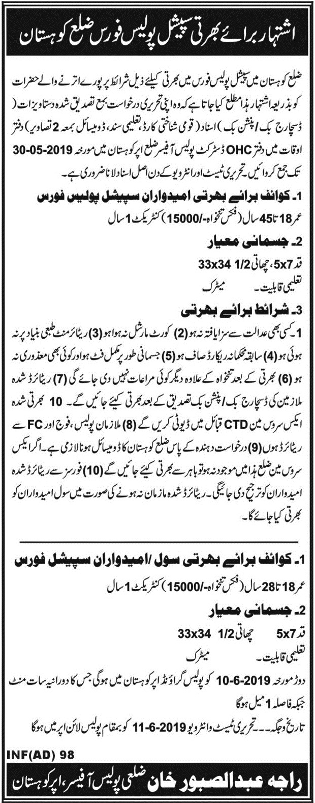 Special Police Force Kohistan Jobs 2019