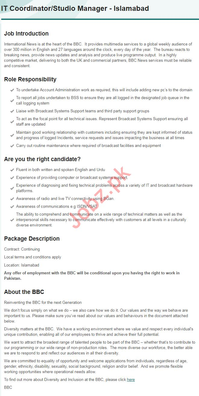 bbc broadcasting company jobs 2019 in islamabad 2019 job