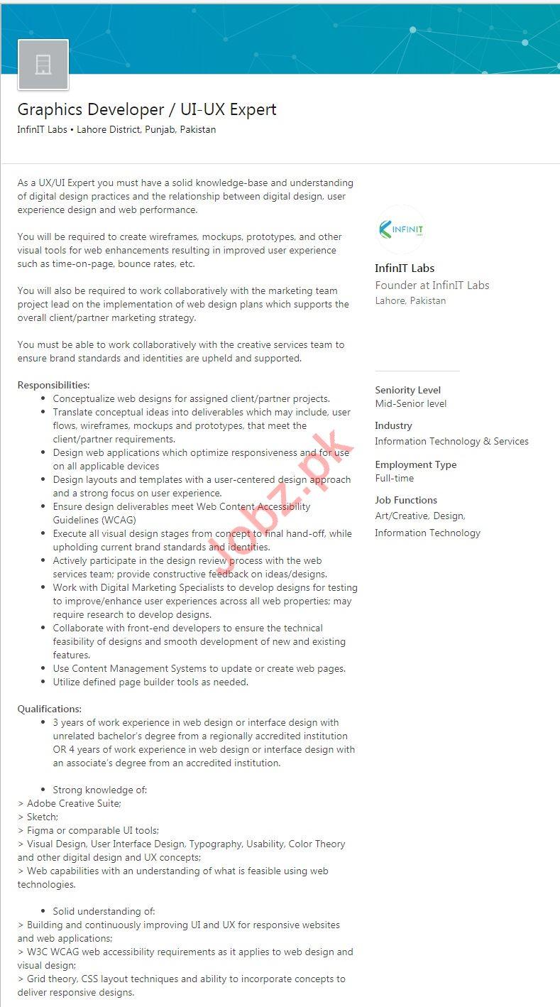 Graphics Developer & UI-UX Expert Jobs 2019 in Lahore
