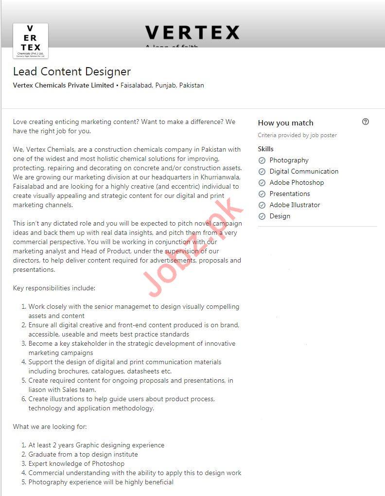 Lead Content Designer Job 2019 in Faisalabad
