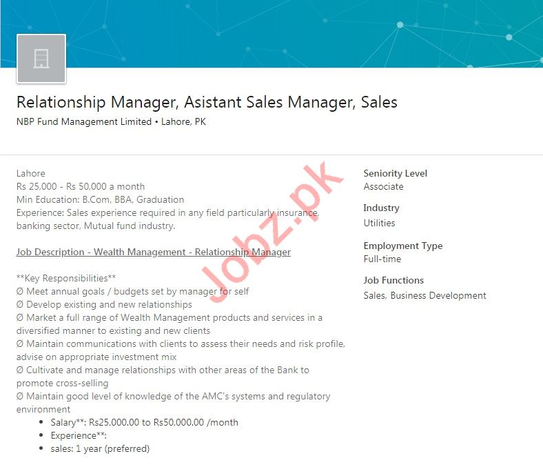 Relationship Manager & Assistant Sales Manager Jobs 2019
