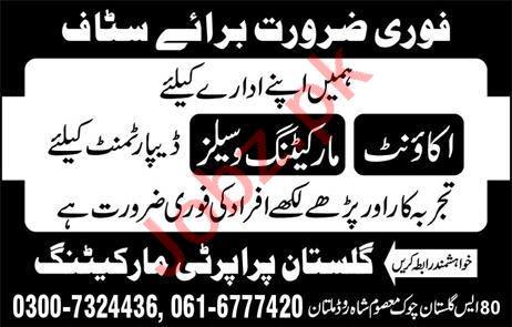 Accountant & Marketing Job in Multan