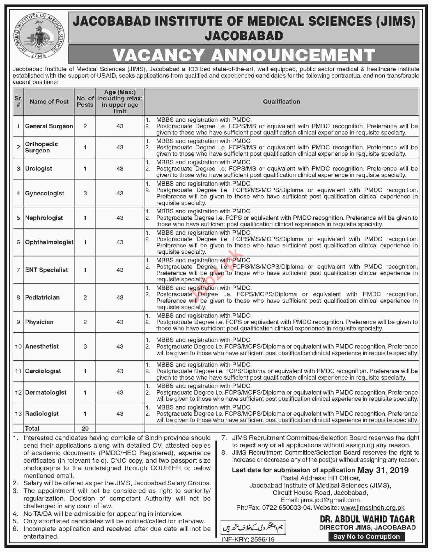 Jacobabad institute of Medical Sciences JIMS Jobs 2019