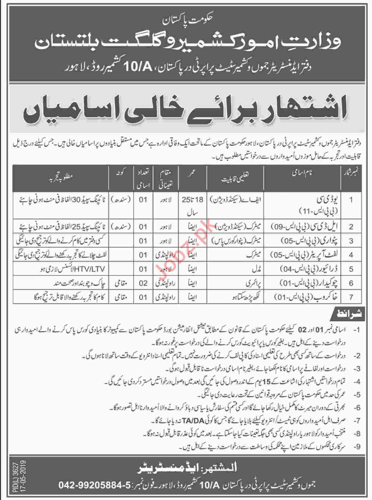 Ministry of Kashmir Affairs & Gilgit Baltistan Jobs 2019