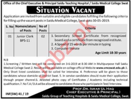 Saidu Medical College Jobs 2019 in Swat KPK