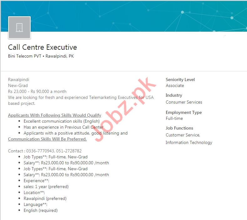 biniTelecom Rawalpindi Jobs for Call Centre Executive