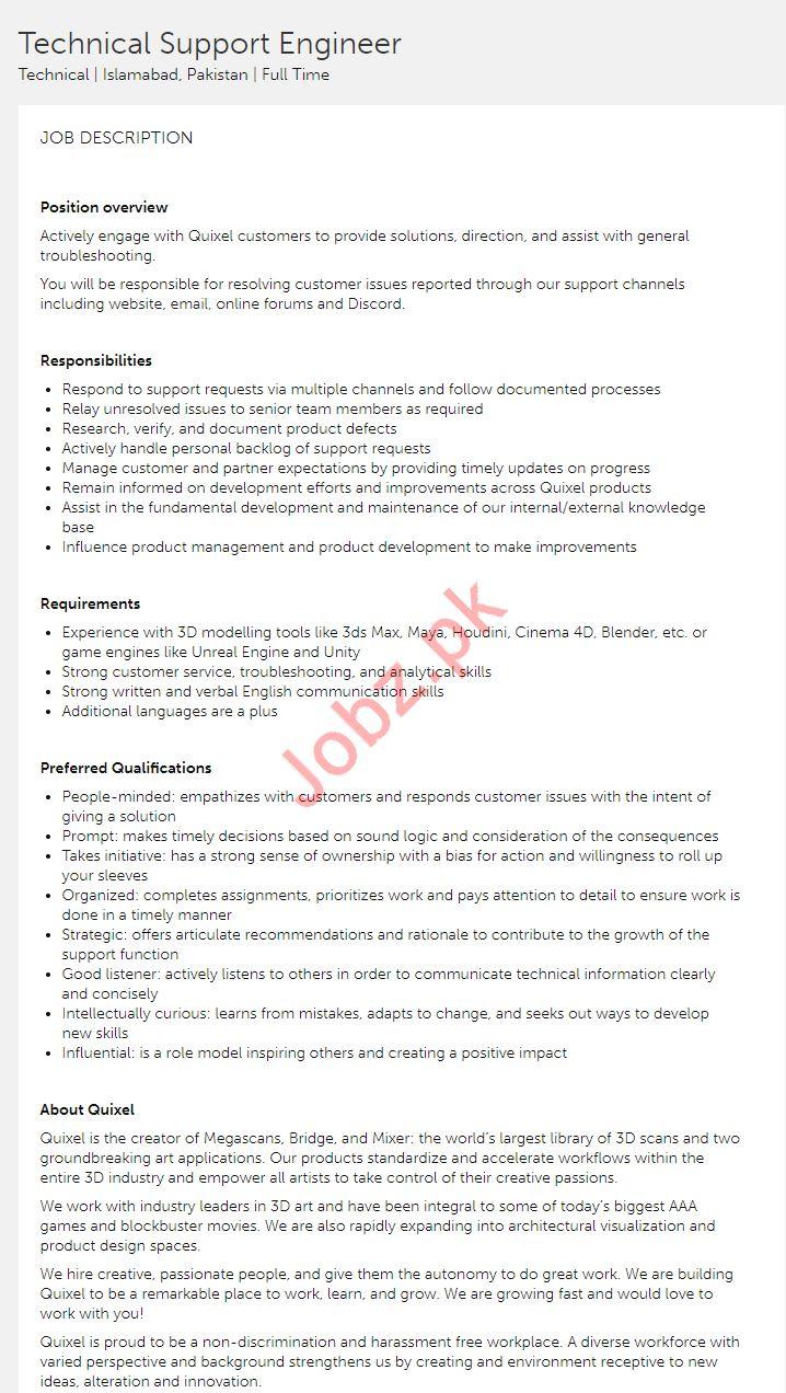 Technical Support Engineer Job 2019 in Islamabad