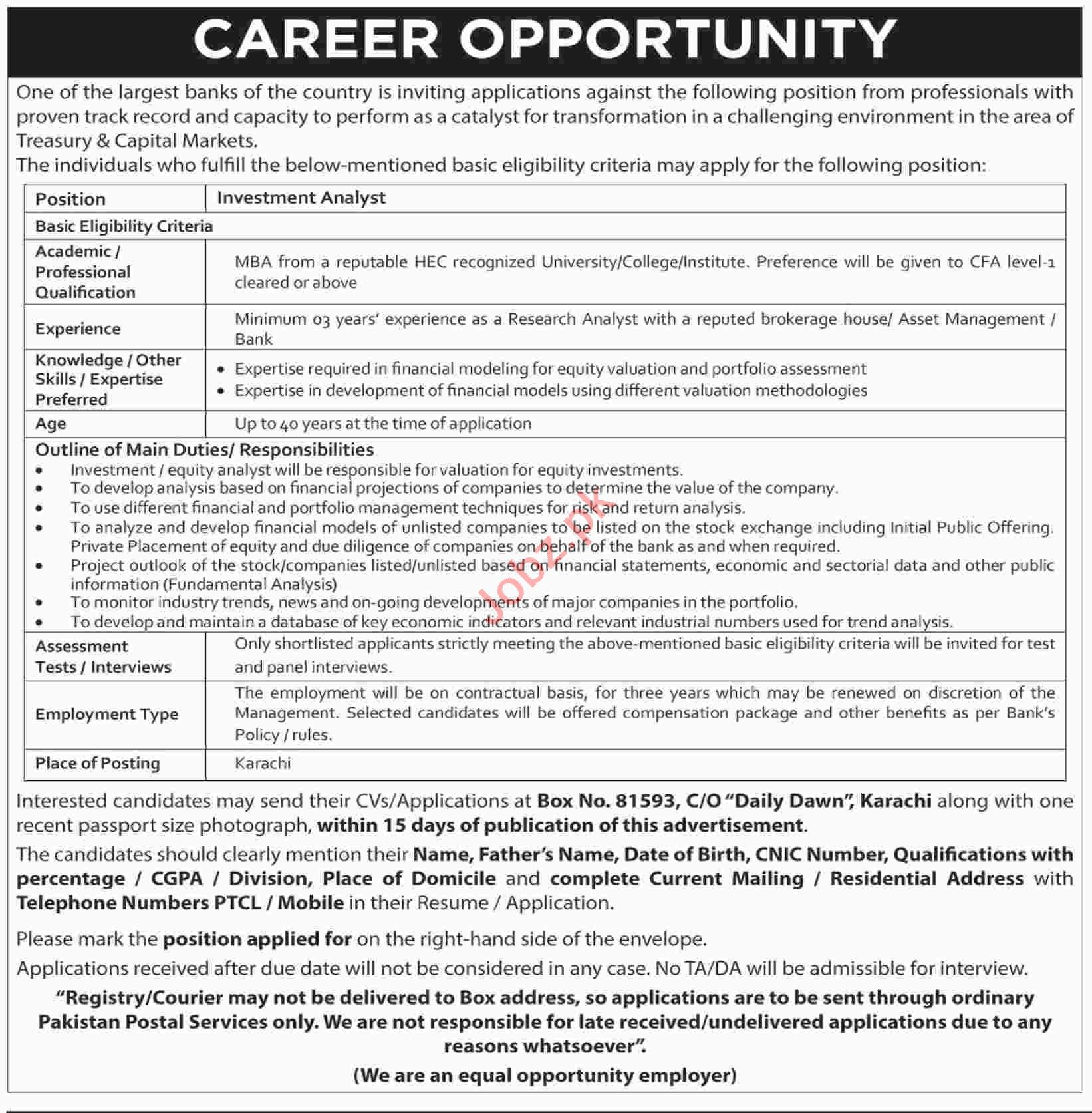 Investment Analyst Job in Karachi