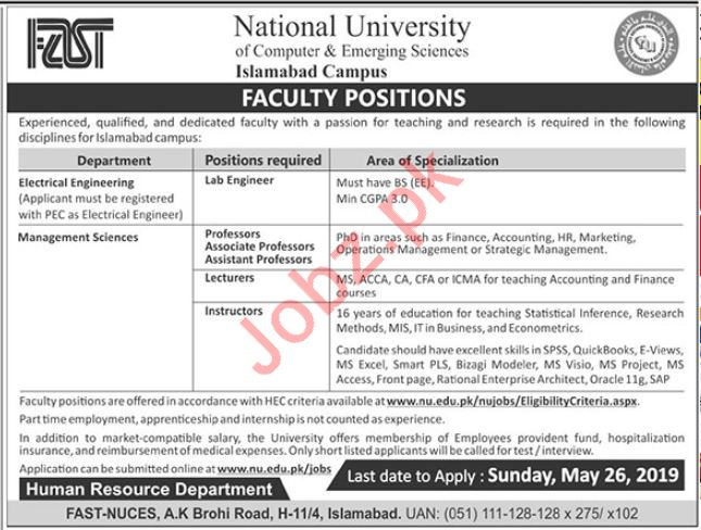 FAST National University of Computer & Emerging Science Jobs