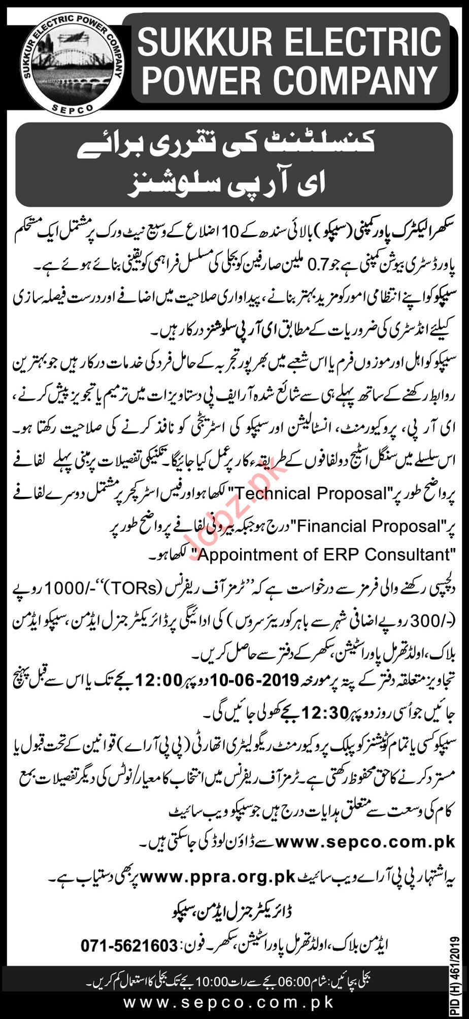 Sukkur Electric Power Company SEPCO Job For Consultant