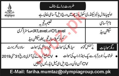 Olympia Model Higher School Job 2019 in Lahore