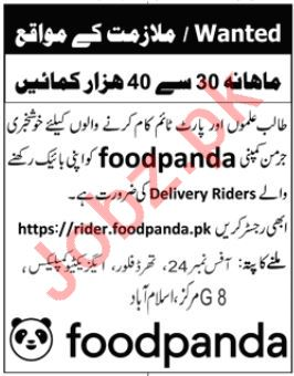 Foodpanda Islamabad Jobs for Delivery Riders