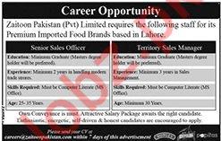 Zaitoon Pakistan Private Limited Sales Staff Jobs 2019