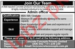 Concrete Concepts Lahore Jobs for Admin Officer