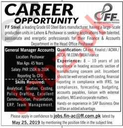 FF Steel Peshawar Jobs 2019 General Manager Accounts
