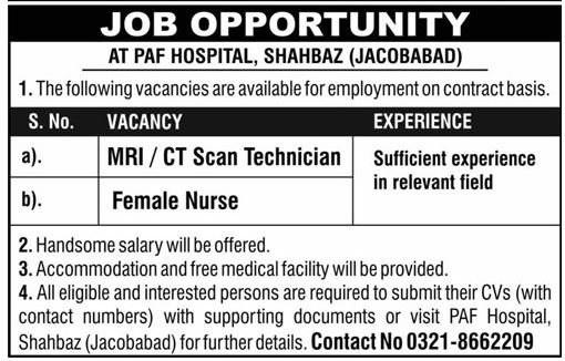 PAF Hospital Nurse & MRI Technician Job in Jacobabad