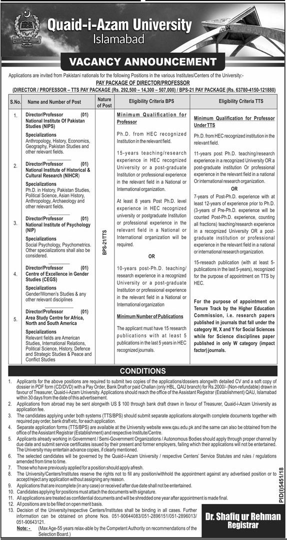 Quaid i Azam University Jobs in Islamabad